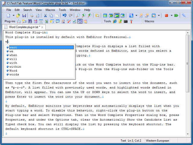 Word Complete plug-in
